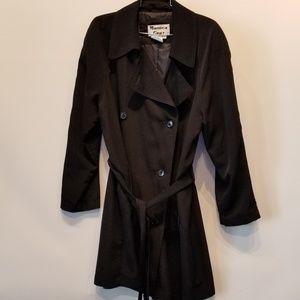 Monica Grey Vintage Black Trench Rain Coat